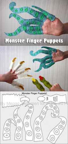Monster Finger Puppets for Kids. Finger puppets take on a different meaning around Halloween. These finger puppets are exactly that — severed fingers from a yeti, ogre, and a sea monster. Making these with kids is a blast. Sewing Projects For Kids, Sewing For Kids, Diy For Kids, Sewing Crafts, Crafts For Kids, Arts And Crafts, Puppets For Kids, Crafty Kids, Sewing Basics