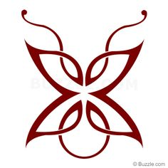 Maroon Celtic Butterfly Tattoo