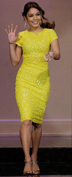 Vanessa Hudgens in a figure hugging yellow sequined dress