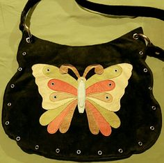 """PATCHWORK HOBO Black genuine suede with cute hippie butterfly in tan, brown, orange and avocado green. Center is powder blue leather. **pic 2 is most accurate color** Silver grommet trim and details. Magnetic closure with 1 interior zip pocket. Fabric lining.  13.5"""" wide 10"""" tall 13"""" strap drop Vintage Bags"""