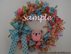14 Crochet Owl Wreath / Custom Color Option by JellyLouCreations Owl Bedrooms, Girls Bedroom, Owl Wreaths, Pink Sparkly, My Little Girl, Classroom Decor, Girl Room, Owls, Nursery Ideas