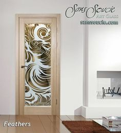 Feathers Negative Interior Etched Glass Doors