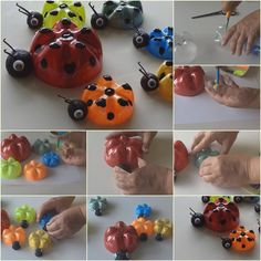 Here's the link to the tutorial >> Plastic Bottle Ladybugs << by Recycled Bottles Crafts Uses For Plastic Bottles, Plastic Bottle Planter, Plastic Bottle Flowers, Plastic Bottle Crafts, Soda Bottle Crafts, Recycled Bottle Crafts, Upcycled Crafts, Cute Crafts, Crafts For Kids