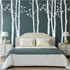 White Birch Tree Wall Mural Stickers Decal Removable Vinyl Art Room Decorative