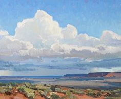 """Afternoon Rains,"" Josh Elliott, 10x12, oil.  Beautiful western vistas.  Gorgeous clouds, sky."