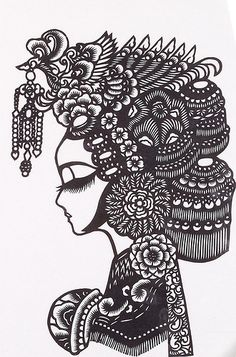 chinese paper cut, woman