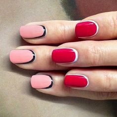 Pink can be too girly while red can be too mature. You can play with these colors to be more casual and fun by adding crescent moon nails. For pale pink, you can match it with black while you can partner white with red.