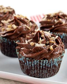 Chocolate Italian Wedding Cupcakes with Chocolate Sour Cream Frosting...Omg, they are amazing!!