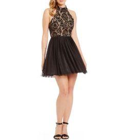 5787dc74a B. Darlin Mock Neck Lace Bodice A-line Party Dress #Dillards Hoco Dresses