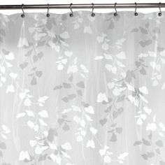 Maytex Linden Leaf PEVA Shower Curtain White Ilik