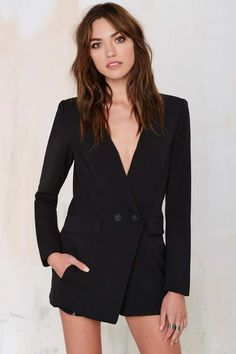 No Tux Given Blazer Romper - Black | Shop Clothes at Nasty Gal!