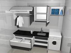Lavanderia planejada com armários e granito preto.