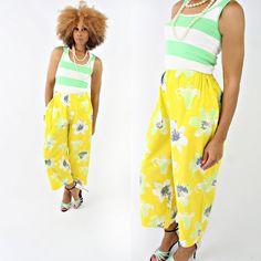 vintage 90s yellow DOLCE & GABBANA floral cropped pants size M/L by PasseNouveauVintage, $42.00