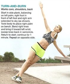 TURN & BURN Side Plank, Abdominal Exercises, Burns, Bring It On, Belly Exercises, Ab Workouts, Kettle Bell Workouts, Ab Exercises