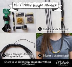DIYFriday Bungee Necklace              Materials: Bead Landing Bungee Cord, Large Silver and Gold Bead Landing Jump Rings,  Black DMC embroidery floss, and Small black Duck Tape.                                                   Bead Landing Bungee and findings available in lots of colors & sizes in stores now!
