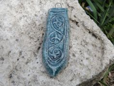 Ceramic Pendant Ancient Motif Raku by BlueBirdyDesign on Etsy, Ceramic Pendant, Crafts To Make, Pendants, Buttons, Ceramics, Unique Jewelry, Handmade Gifts, Pretty, Vintage