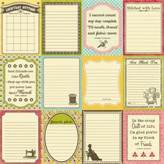 Cute journaling cards