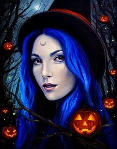 8 x 10 Fine Art Print Samhain Night fantasy by AuroraEventide on Etsy Harvest Moon, Samhain, Feliz Halloween, Happy Halloween, Wiccan Art, Halloween Artwork, Cross Paintings, Illustrations, Gothic Art
