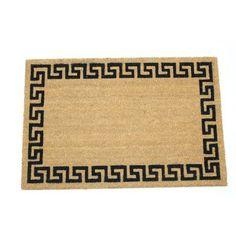 Greek Key Border 24x36 Inch Printed Coir Doormat, White
