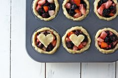 Mini mixed berry pies--easy to make in muffin tins.