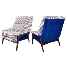 1960s Italian Pair of Vintage Walnut Armchairs in Blue White Red Fabric