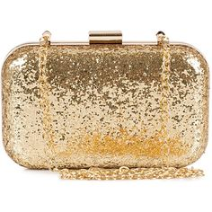 Nly Accessories Party Clutch ($11) ❤ liked on Polyvore featuring bags, handbags, clutches, purses, bolsas, accessories, gold, womens-fashion, box clutch and leather clutches