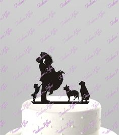 Custom Wedding Cake Topper WITH any PET SILHOUETTE, Acrylic Cake Topper [CT4pt]