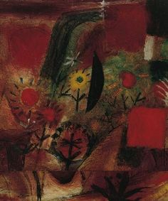 Paul Klee (1879-1940), Garten in Rot (Garden in Red), 1920 (201). Oil, gouache, watercolor and India ink on laid papers mounted on thin cardboard. 29.8cm H x 24.8cm W. (Norton Simon Museum, The Blue Four Galka Scheyer Collection) (Image © Norton Simon Museum)