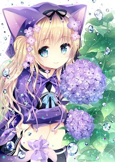 Anime neko girl with lilacs everywhere raincoat blue eyes ♥ Lookalike? Anime Neko, Lolis Neko, Chica Anime Manga, Ecchi Neko, Anime Girl Cute, Beautiful Anime Girl, Kawaii Anime Girl, I Love Anime, Awesome Anime