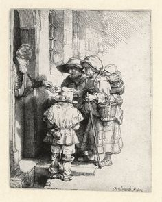 Rembrandt, Beggar Receiving Alms, etching