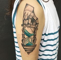 Sketched hourglass tattoo by Luca Testadiferro
