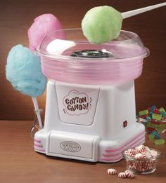 Nostalgia Hard & Sugar-Free Candy To Cotton Candy Maker. The cotton candy maker transforms your favorite hard and sugar-free candies into fluffy, melt-in-your-mouth cotton candy. Cotton Candy Cone, Nostalgia, Sugar Free Candy, Geek Gadgets, Top Gadgets, Jolly Rancher, Hard Candy, Kitchen Gadgets, Cool Kitchens