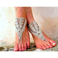 Crochet Barefoot Sandals, Barefoot Sandals, Barefoot Sandles, Foot... ($15) ❤ liked on Polyvore featuring shoes, sandals, sexy anklet, crochet sandals, beach footwear, crochet shoes and crochet beach sandals