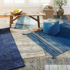 Indigo is a great hue to bring into your home for a year-round pop of color. Opt for an all-indigo statement rug, or a more subtle alternative with hints of blue, for a no-fuss way to incorporate this beautiful color into any space. #seeingblue #indigo #birchlane #passportcollection #navy #rug