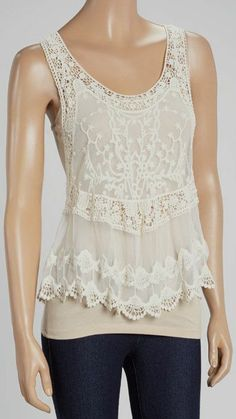 Lovely Ivory Crochet Scallop-Trim Tank