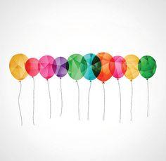 Carte d'anniversaire avec des ballons de Couleur transparente - Illustration vectorielle