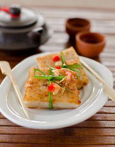 Pan fried 蘿蔔糕 turnip/ daikon/ radish cake - Chinese dim sum dish