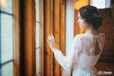 Lace wedding dress made by Pukuni (www.pukuni.fi). Long sleeves, open back, bride, castle, Turku, Finland.