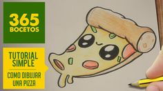 COMO DIBUJAR UNA PIZZA KAWAII PASO A PASO - Dibujos kawaii faciles - How to draw a Pizza