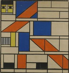 "In addition to painting, Dutch artist Theo van Doesburg co-founder and ""ambassador"" to the De Stijl movement, designed many st. Modern Stained Glass, Stained Glass Designs, Stained Glass Windows, Mondrian, Graphic Design Illustration, Illustration Art, Theo Van Doesburg, Glass Photography, Geometric Quilt"