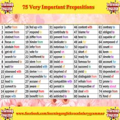 75 of some of the most important prepositions list