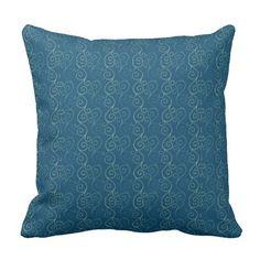 Blue Swirls Design Throw Pillow