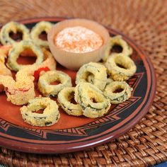 Crunchy Jalapeño Rings...I'm going to try this with pickled jalepeno slices instead and dip them in nacho cheese.