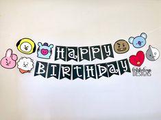 BT21 Birthday Banner BTS Themed Birthday Black White | Etsy Bts Happy Birthday, Sister Birthday, Happy Birthday Banners, Diy Birthday Themes, Birthday Decorations, Birthday Parties, Bts Cake, Diy Gift For Bff, Bts Birthdays