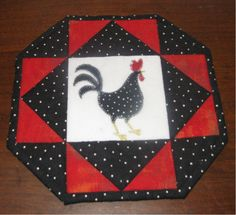 "This rooster trivet has an applique cut out from ""chicken fabric""."