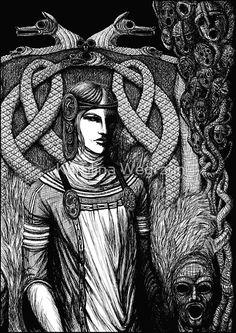 Hel, goddess of the Underworld in Norse mythology. Carvings on her throne present her siblings: the wolf Fenrir, and the world serpent Jörmungandr, all of them children of the god trickster Loki and giantess Angrboða. #hel #hela #norse #german #nordic #myth #mythology #black #white #ink #digital #digitalink #painter #fantasy #female #woman #women #dead #alive #jormungand #jormungandr #fenrir #fenris #pagan #folk #fairytale #snake #viking #wolf #stonethrone #goddess #death #helheim