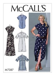 McCall's Misses' Button-Down Top, Tunic, Dresses and Belt 7387