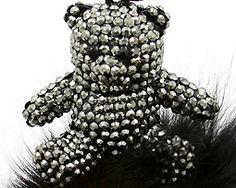 Black Crystal Bear Key Chain Key Ring with Rabbit Fur Trim