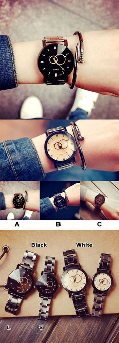 Harajuku Simple Steel Strip Couple Watch Student Quartz watches is a unique couple watch~ #watch #couple #steel