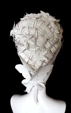 The back of a wig by Paper-Cut-Project for RED Valentino's store installation in Milan, December 2012. http://www.paper-cut-project.com/Valentino7.html